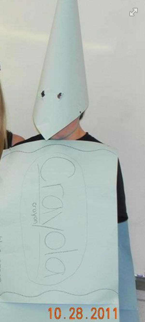 "15.) Someone didn't think this ""white crayon"" costume through."