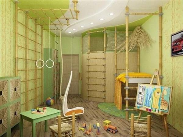 7.) Yep, there certainly are rings and a swing in this jungle playroom.