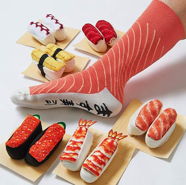 For sushi addicts the world around, you can now buy designs incorporating the most famous types of sushi: tuna, salmon, shrimp, Japanese omelette, octopus and fish eggs.