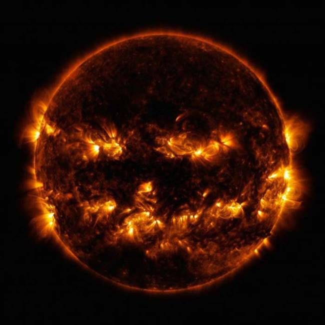 Happy Halloween from the sun! This picture is a blend of several photos capturing different light wavelengths to give the sun that perfect Halloween look.