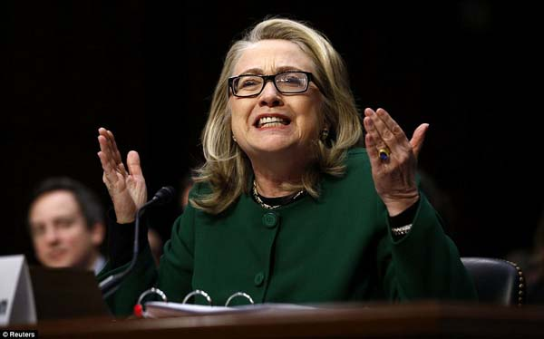 Secretary of State Hillary Clinton at intense questioning on September attacks on US diplomatic sites in Benghazi, Libya, during a Senate Foreign Relations Committee hearing in Washington January 23.