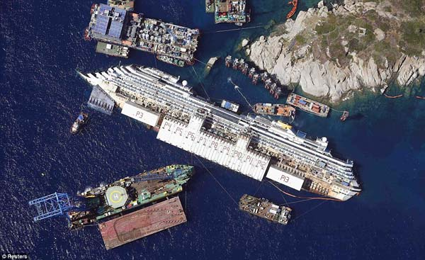 The Costa Concordia cruise ship sits on its side after an accident.
