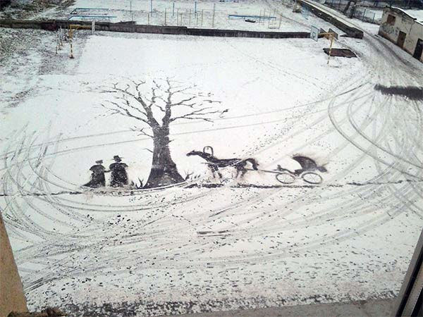 His primary job is to keep the grounds clean, but he can't resist expressing his creativity.