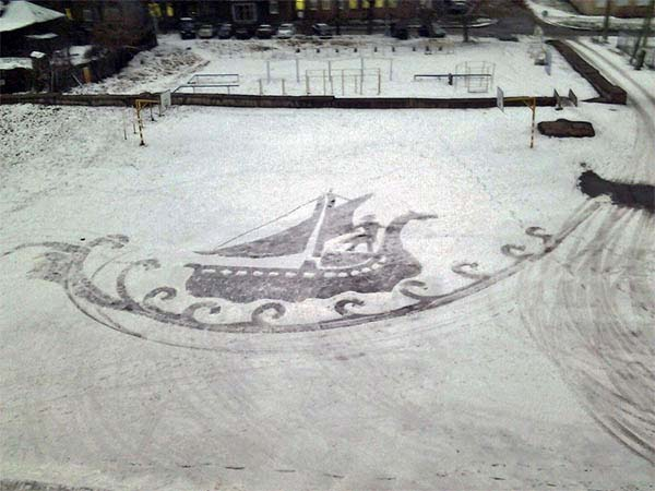 It's a delight for the students and teachers when he creates the scenes in the snow.